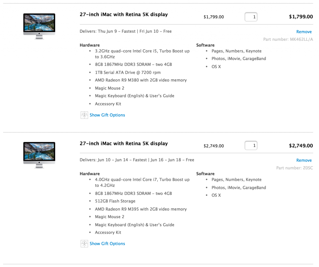 27-inch iMac with Retina 5K display: 3.2GHz i5 vs. 4.0GHz i7
