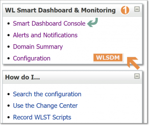 WLSDM Console Menu (Portlet in WebLogic Console)